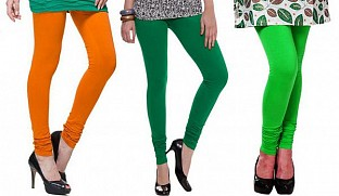 Cotton Dark Orange,Dark Green and Light Green Color Leggings Combo @ Rs617.00
