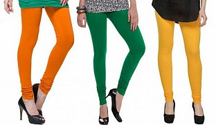 Cotton Dark Orange,Dark Green and Yellow Color Leggings Combo @ Rs617.00