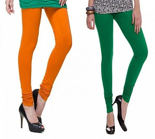 Cotton Dark Orange and Dark Green Color Leggings Combo @ Rs407.00