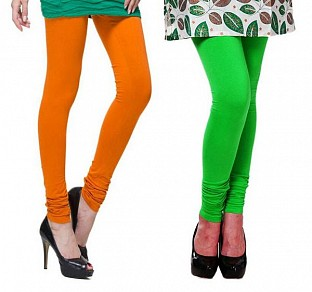 Cotton Dark Orange and Light Green Color Leggings Combo @ Rs407.00