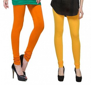 Cotton Dark Orange and Yellow Color Leggings Combo@ Rs.407.00