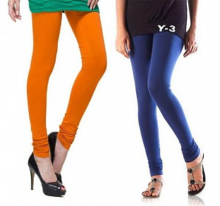 Cotton Dark Orange and Blue Color Leggings Combo @ Rs407.00