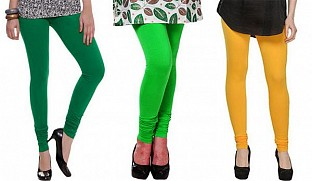 Cotton Dark Green, Light Green and Yellow Color Leggings Combo @ Rs617.00