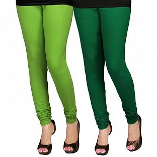 Cotton Dark Green and Light Green Color Leggings Combo @ Rs407.00