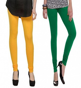 Cotton Dark Green and Yellow Color Leggings Combo @ Rs407.00
