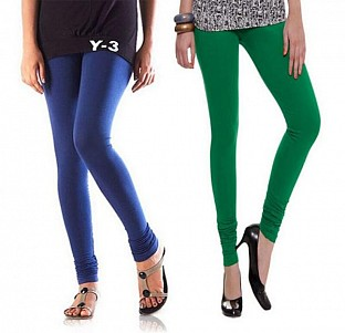 Cotton Dark Green and Blue Color Leggings Combo@ Rs.407.00