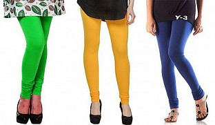 Cotton Light Green, Yellow and Blue Color Leggings Combo@ Rs.617.00