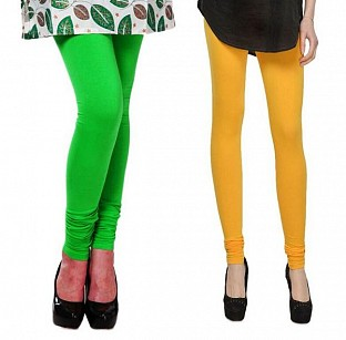 Cotton Light Green and Yellow Color Leggings Combo @ Rs407.00