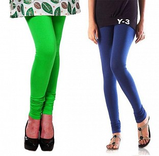 Cotton Light Green and Blue Color Leggings Combo @ Rs407.00