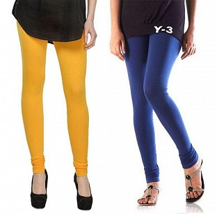 Cotton Yellow and Blue Color Leggings Combo @ Rs407.00