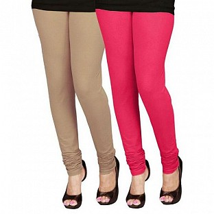 Cotton Red and Biege Color Leggings Combo @ Rs407.00
