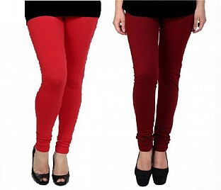 Cotton Red and Brown Color Leggings Combo @ Rs407.00
