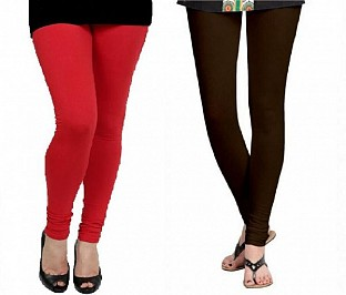 Cotton Red and Dark Brown Color Leggings Combo @ Rs407.00