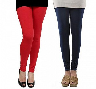 Cotton Red and Dark Blue Color Leggings Combo @ Rs407.00