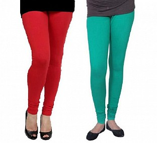 Cotton Red and Rama Green Color Leggings Combo @ Rs407.00