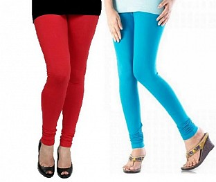 Cotton Red and Sky Blue Color Leggings Combo @ Rs407.00