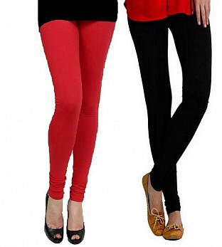 Cotton Red and Black Color Leggings Combo @ Rs407.00