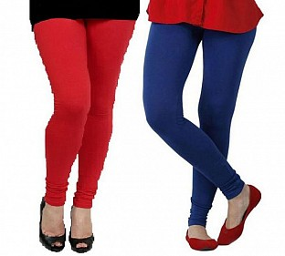 Cotton Red and Royal Blue Color Leggings Combo @ Rs407.00