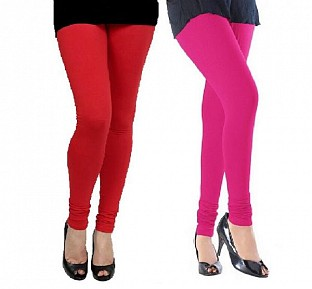 Cotton Red and Pink Color Leggings Combo @ Rs407.00