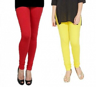 Cotton Red and Light Yellow Color Leggings Combo @ Rs407.00