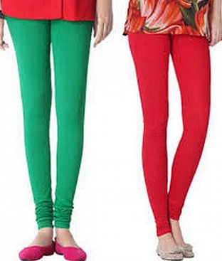 Cotton Red and Green Color Leggings Combo @ Rs407.00