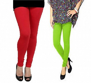Cotton Red and Parrot Green Color Leggings Combo @ Rs407.00
