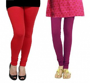 Cotton Red and Dark Pink Color Leggings Combo @ Rs407.00