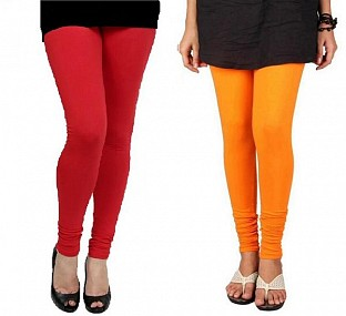 Cotton Red and Orange Color Leggings Combo @ Rs407.00