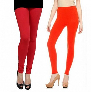 Cotton Red and Dark orange  Color Leggings Combo @ Rs407.00