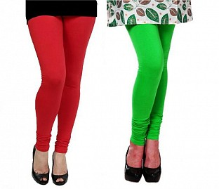 Cotton Red and Light Green Color Leggings Combo @ Rs407.00