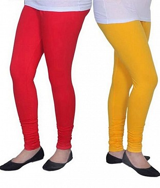 Cotton Red and Yellow Color Leggings Combo @ Rs407.00