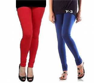 Cotton Red and Blue Color Leggings Combo @ Rs407.00