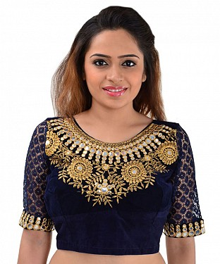 Women Velvet Embroidered Mirror Work Blue Blouse @ Rs246.00