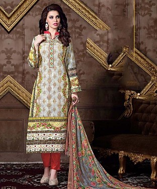 Unstitched Long Straight Pakistani printed suit Buy Rs.1051.00