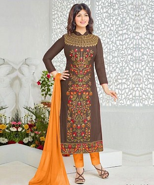Designer Semistich Camric cotton long Straight Suit @ Rs1360.00