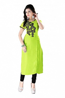 Green Straight Embroidered Faux Georgette Kurti @ Rs864.00