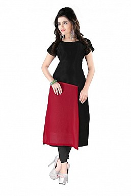 Black And Maroon Straight Plain Faux Georgette Kurti @ Rs864.00