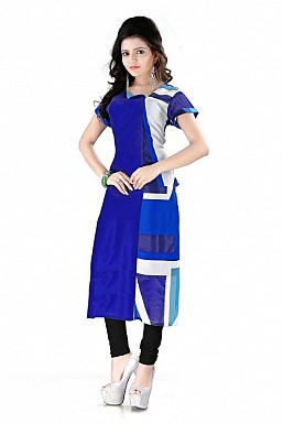 Blue Straight Printed Faux Georgette Kurti @ Rs864.00