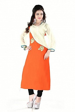 Orange And Beige Straight Embroidered Faux Georgette Kurti @ Rs864.00