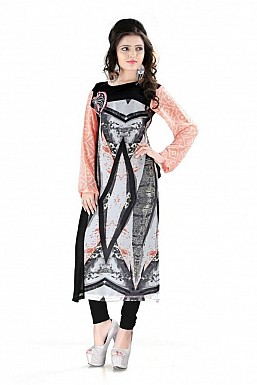 Black Straight Printed Faux Georgette Kurti @ Rs864.00