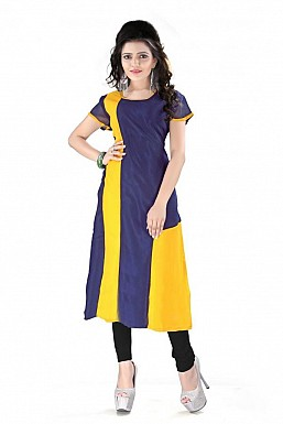 Blue And Yellow Straight Plain Faux Georgette Kurti @ Rs864.00