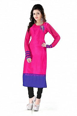 Pink Straight Plain Faux Georgette Kurti @ Rs864.00