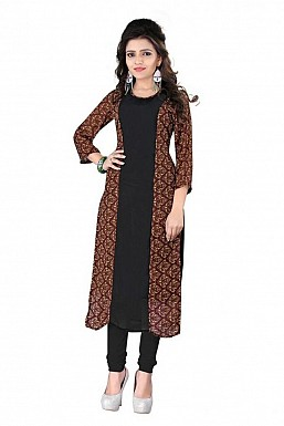Black And Brown Straight Printed Faux Georgette Kurti @ Rs864.00