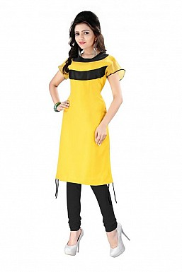 Yellow Straight Plain Faux Georgette Kurti @ Rs864.00