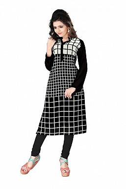 Black Straight Checks Printed Faux Georgette Kurti @ Rs864.00