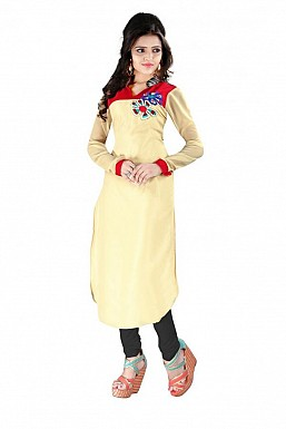 Beige Straight Printed Faux Georgette Kurti @ Rs864.00