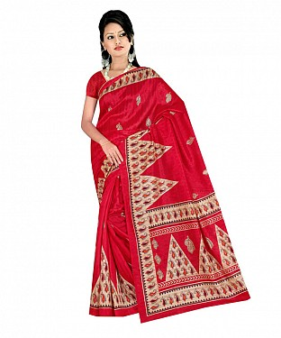 Red color printed bhagalpuri saree with blouse piece@ Rs.494.00