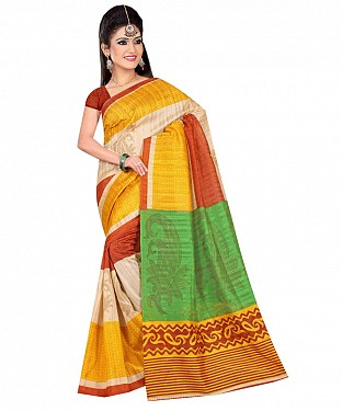 Multicolor printed bhagalpuri saree with blouse piece @ Rs494.00