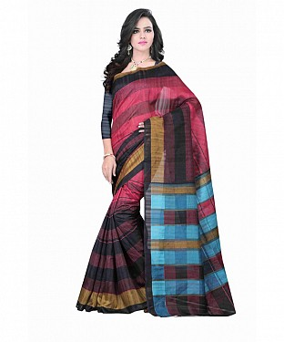 Multi Color Bhagalpuri silk saree with blouse piece Buy Rs.494.00
