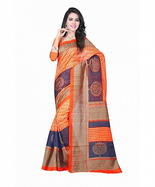 Orange Color Bhagalpuri silk saree with blouse piece@ Rs.494.00